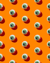 Halloween Eye Candy On Orange Background
