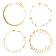 Set Of Golden Starry Round Frames