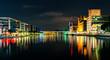 canvas print picture - Duisburg Hafen bei Nacht