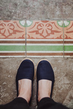 View From Above Of A Beautiful Vintage Tiled Floor