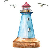 Watercolor Lighthouse. Hand Painted Blue Lighthouse, Isolated On White Backgrouns. Summer Vacation Illustration.