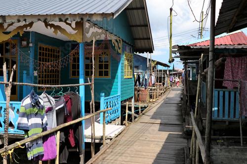 Stilt houses of a fishing village, Sarawak, Borneo, Malaysia, Asia