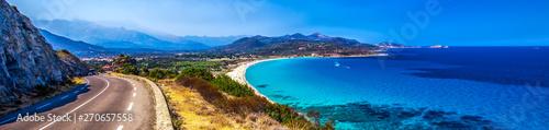 Beautiful view to Plage de Lozari near Lile Rousse, Corsica, France, Europe