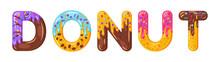 Donut Cartoon Biscuit Bold Fon...