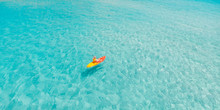 Kayak Boat Turquoise Blue Water Sea, Sunny Day. Concept Banner Travel. Aerial Top View