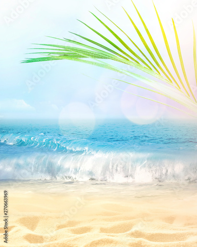 Photo sur Toile Les Textures Summer beach background. Sand, palm leaf, sea and sky.