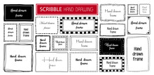 Hand Drawn Doodle Scribble Symbols Isolated Frames On White Background