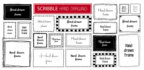 Obraz na płótnie Hand drawn doodle scribble symbols isolated frames on white background