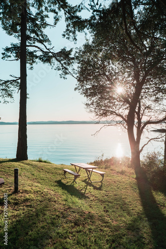 Canvas Prints Autumn Picnic Sunset on the Coast