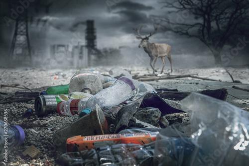 Zerstörte Natur mit Plastikmüll und Industrie Wallpaper Mural