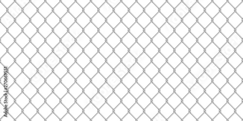 Canvas Print Wide realistic glossy metal chain link fence on white
