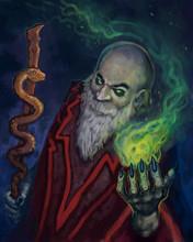 Dark Evil Wizard Casting A Gre...