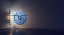 Opened Vault Door With Gold And Treasure Hidden In Dark Room 3D Rendering