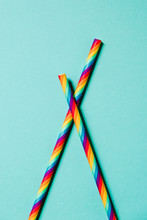 Striped Straws With Rainbow Flag Colours
