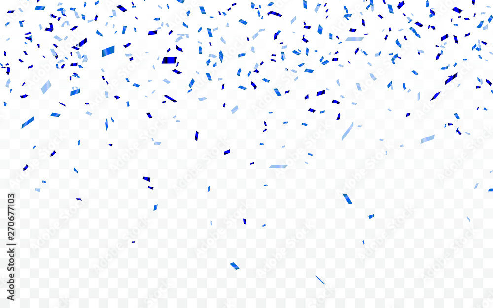 Fototapety, obrazy: Blue confetti. Celebration carnival ribbons. Luxury greeting card. Vector illustration