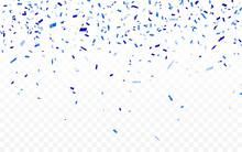 Blue Confetti. Celebration Carnival Ribbons. Luxury Greeting Card. Vector Illustration