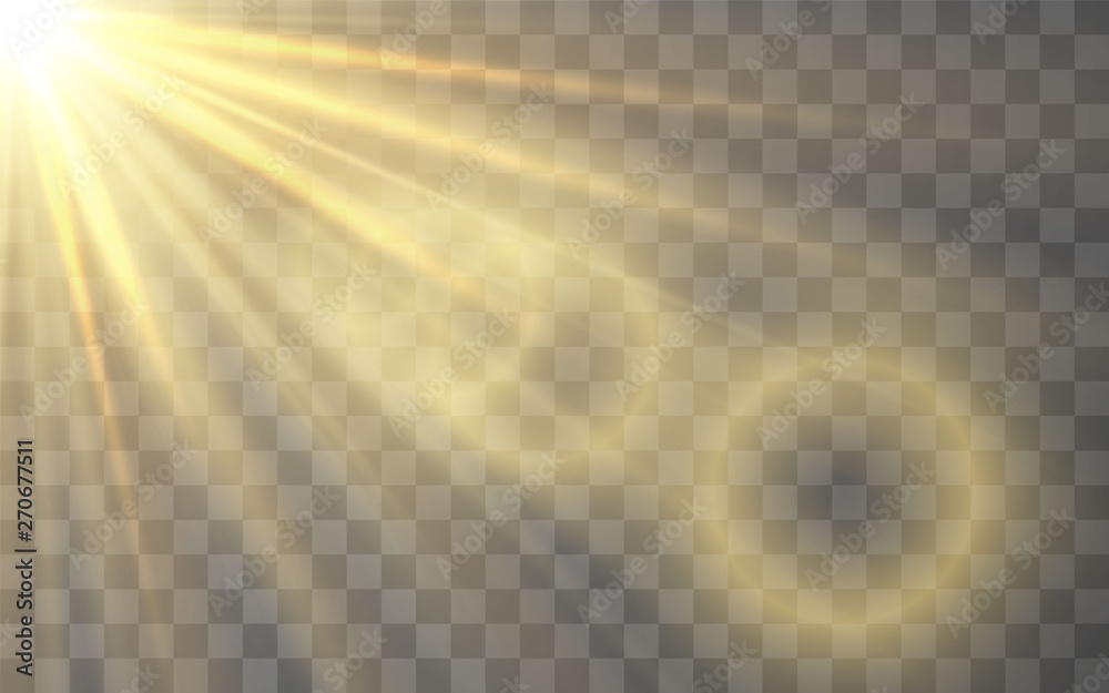 Fototapety, obrazy: Sunlight special lens flash light effect on transparent background. Effect of blurring light. Vector Illustration