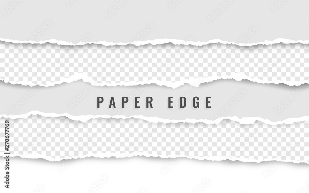 Fototapety, obrazy: Horizontal torn paper edge. Ripped squared horizontal white paper strips. Vector illustration