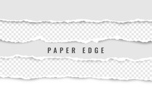 Horizontal Torn Paper Edge. Ripped Squared Horizontal White Paper Strips. Vector Illustration