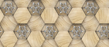 3D Hexagon Made Of Wood With Silver Decor. Material Wood Oak. High Quality Seamless Realistic Texture.
