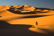 Rear View Of Woman Walking On Sand Dunes