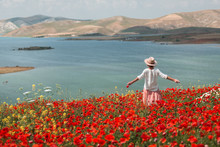 Young Woman In A Field Of Poppies.