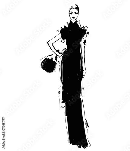 Woman in a long black dress with handbag. Fashion illustrations sketch Wall mural