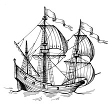 Old Caravel, Vintage Sailboat. Hand Drawn Sketch. Detail Of The Old Geographical Or Fanasy Maps Of Sea.