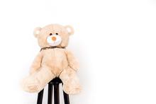 White Teddy Bear Sitting On A Chair. Thrown Toy.