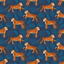 Exotic Tropical Seamless Pattern With Tigers And Tropical Palm Leaves. Summer Background For  Fabric, Textile, Manufacturing Etc. Vector Illustration