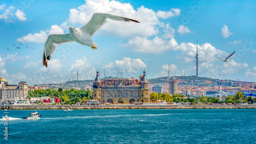 Haydarpasa train station on the Asian part of Istanbul is one of the historic landmarks of the city Canvas Print