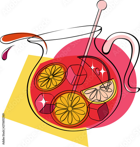 Valokuva Pitcher of sangria with fruit, colorful vector illustration, no transparencies,