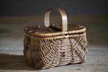 Old Wicker Woven Picnic Basket