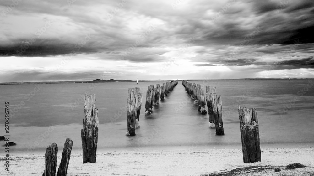 Fototapeta Black and White photo of Abandoned Pier - Victoria - Australia