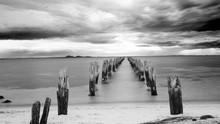 Black And White Photo Of Abandoned Pier - Victoria - Australia