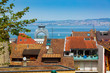 Leinwanddruck Bild - Roof tops and Lake Geneva in Evian-les-Bains city in France