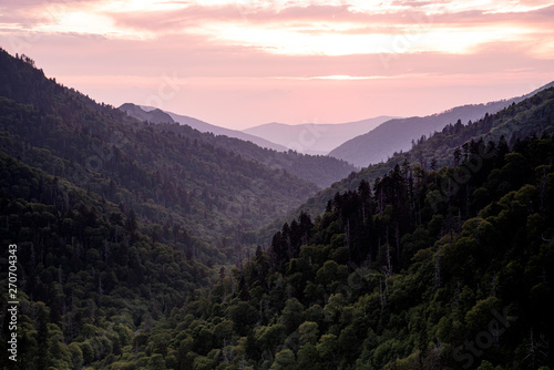 Wall Murals Light pink Sunset over the Great Smoky Mountains National Park.