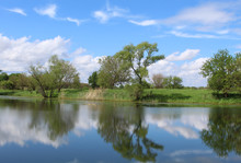 Turtle Pond At Midewin National Tallgrass Prairie With Intereting Clouds And A Beautiful Reflection