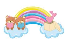 Toy Bear And Rainbow Vector Il...