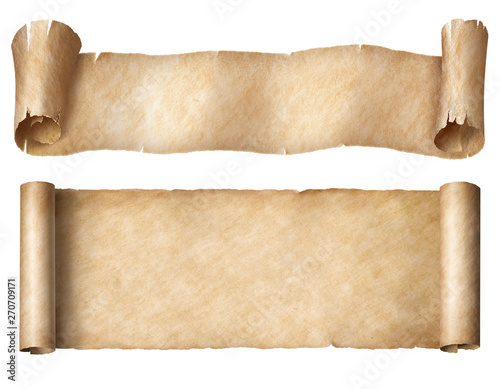 Fényképezés  Narrow paper or parchment scrolls set isolated on white