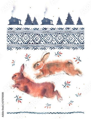 Watercolor illustration of running and playing rabbits and national ornament in blue tones on a white background