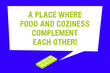 canvas print picture - Writing note showing A Place Where Food And Coziness Complement Each Other. Business photo showcasing Cozy restaurant Rectangular Speech Bubble with Tail pointing to Dollar Paper Bill