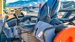 Panorama Interior of the open cab of a heavy duty construction machinery