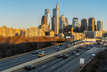 Philadelphia Pennsylvania Cityscape With Expressway In Rush Hour At The Evening Time, United States, Business Architecture And Transportation Concept