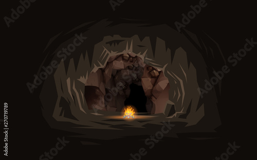 Fotografie, Tablou bonfire with landscape of inside the cave