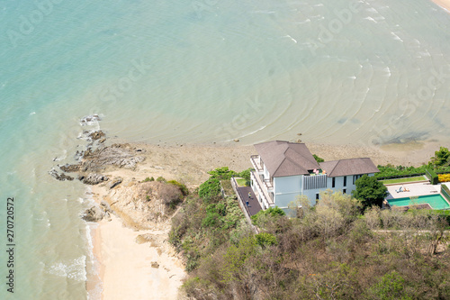 Beachfront house High angle View. Wallpaper Mural