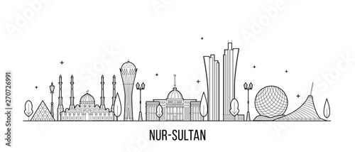 Nur-Sultan Astana skyline Kazakhstan city a vector Canvas Print