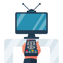 Turn On The TV. Remote Control Holding In Hand. Social Media. Rest At Home, While Watching Programs. Vector Illustration Flat Design. Isolated On White Background. Watching Television. Web Design.