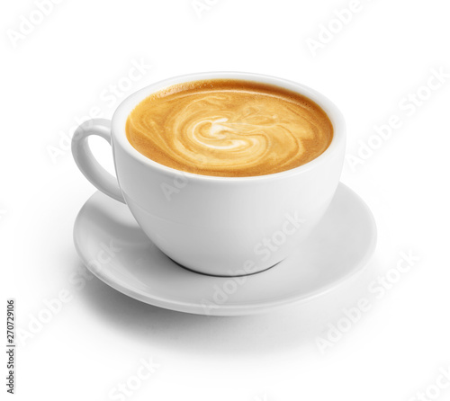 Cup of coffee latte isolated on white backgroud with clipping path