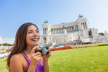 Italy Tourist Asian Woman Taking Travel Photo With Vintage Camera At Monumento Nazionale Vittorio Emanuele Ii,The Altare Della Patria, Or Il Vittoriano, Rome, Italian Building. Europe Vacation.